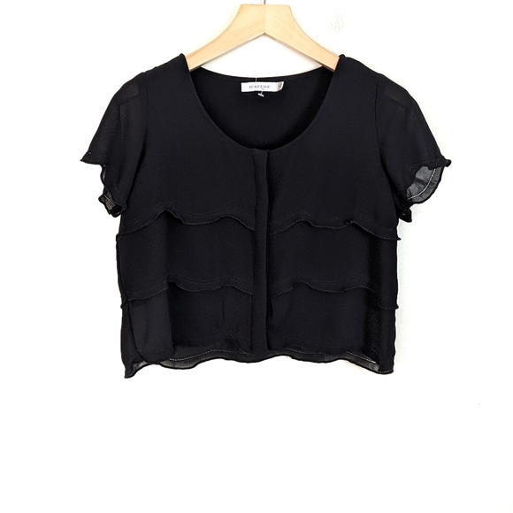 MINKPINK Cropped Short Sleeve Tiered Ruffle Blouse